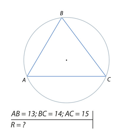Task for calculating the radius of a circle illustration. Illustration