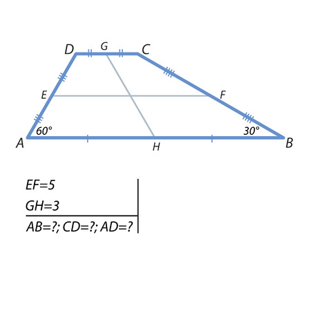 The task of finding a base and at the side of the trapezoid