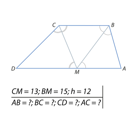 Task for calculating the sides of a trapezoid Illustration
