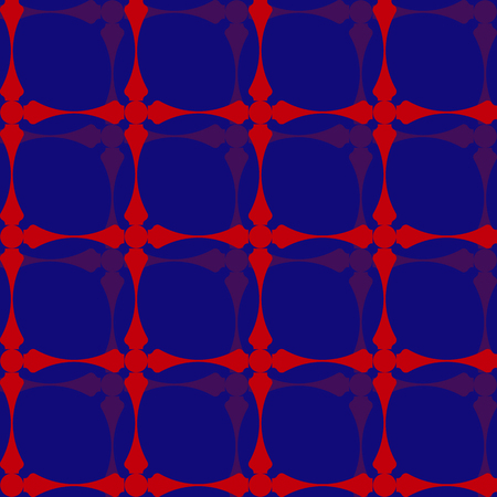 Classic red blue and lilac volumetric pattern in the style of the 70s Illustration