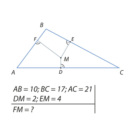 vertices: The problem of calculating a segment of a FM in a triangle