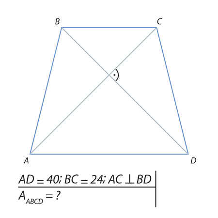 A Vector illustration of a geometrical problem for finding the area of a trapezoid ABCD-01 illustration.