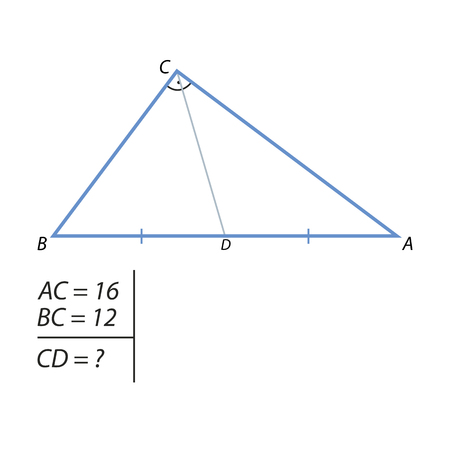 The task of finding the hypotenuse and the second leg
