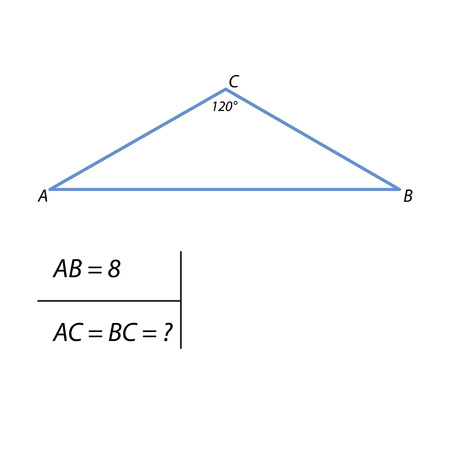 The task of finding the side of a right triangle height Illustration