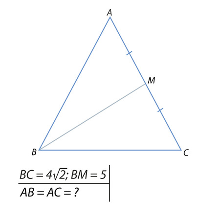 finding the side of an isosceles triangle Illustration