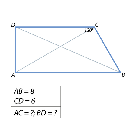 The task of finding the diagonals of the trapezium illustration.