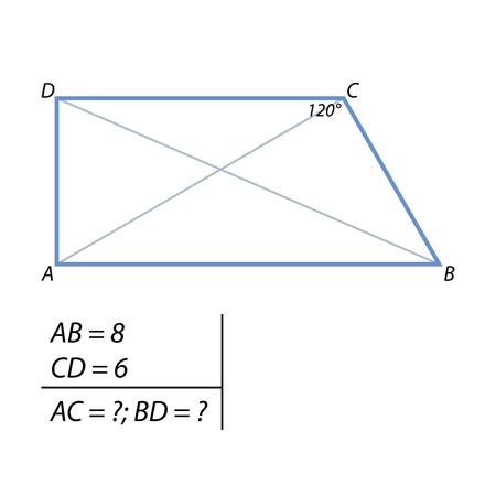 La tarea de encontrar las diagonales de la ilustración del trapecio. Ilustración de vector