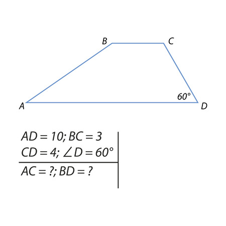The problem of calculating the diagonals of a trapezoid illustration. Vectores