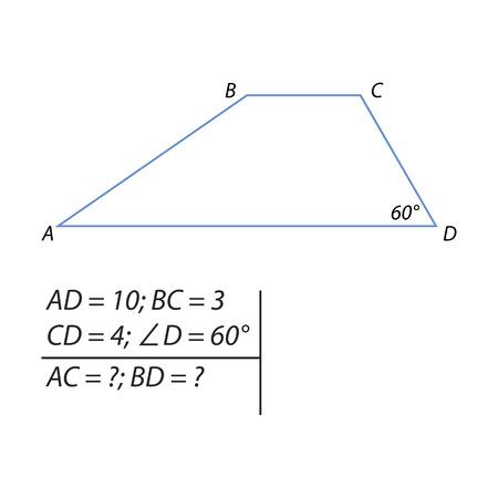 le problème de calculer le diagonal d & # 39 ; une illustration de trapèze