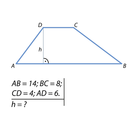 The task of calculating the height of a trapezoid