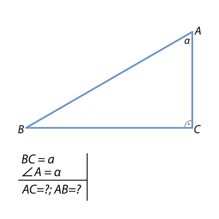 Task for calculating the side and hypotenuse of a right triangle