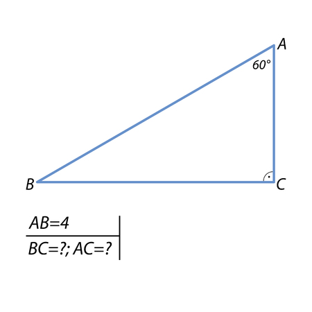The task of finding leg and the hypotenuse in a right triangle