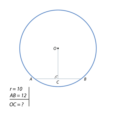 perimeter: The task of finding the distance from the center of the circle to a chord illustration. Illustration