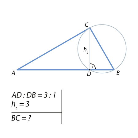 The problem of calculating the side of a right triangle Illustration