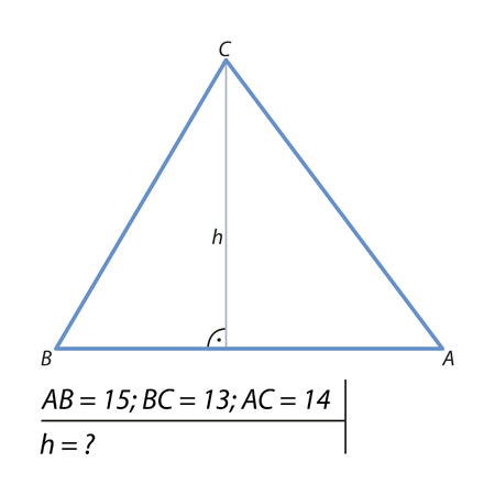 The problem of calculating the height of a triangle illustration.