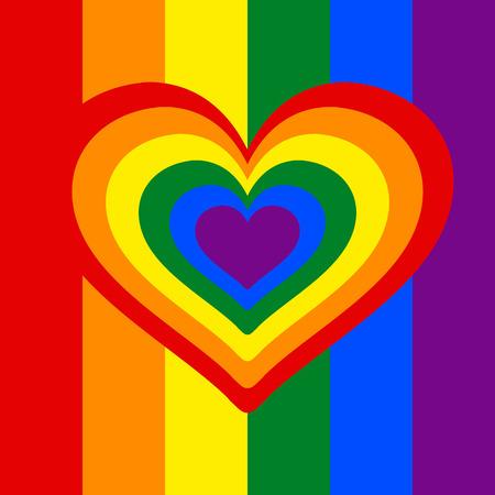 Rainbow heart, Heart, lgbt color . symbol of homosexual love, Vector illustration.