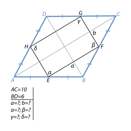 The task of finding a quadrilateral sides and angles in a rhombus