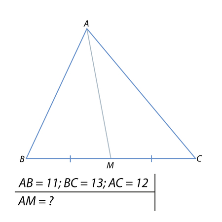 A Vector illustration of the problem of finding the median of the triangle illustration.