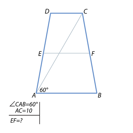 radius: Diagonal equilateral trapezoid is 10 and forms an angle of 60 degrees, with a trapezoid base. Find the center line of the trapezoid. Illustration