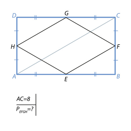 Find the perimeter of a quadrilateral with vertices  in the middle of the sides of a rectangle with a diagonal equal to 8.