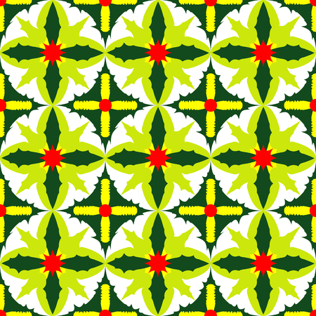 A seamless pattern of exotic green leaves illustration.