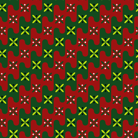 Acient pattern. Gentle colors of red, green. Illustration