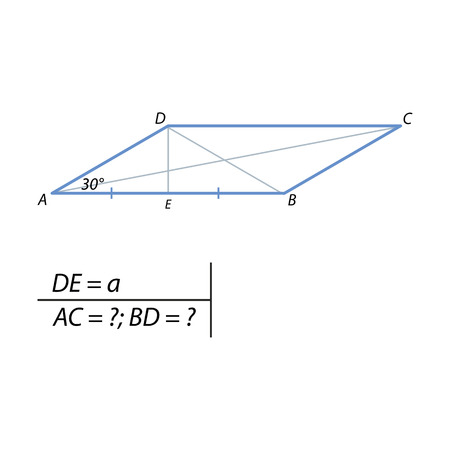 The height of the parallelogram drawn from the vertex of the obtuse angle is equal to a direction and divides in half. The acute angle of the parallelogram is 30 degrees. Find the diagonal of a parallelogram.