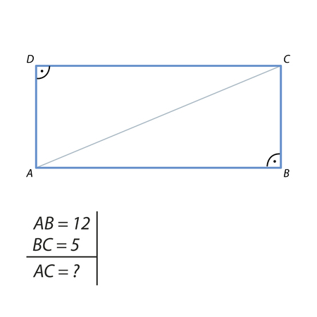 Find the diagonal of a rectangle with sides 5 and 12.