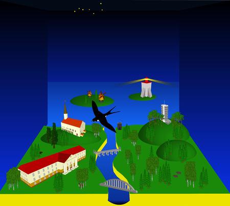 Estonia country. 3d illustration. World vacation travel Europe European collection. Stock Photo