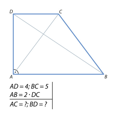 The problem of calculating the diagonals of a trapezoid Vectores