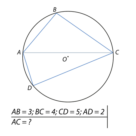A Vector illustration of the problem of finding diagonals of the quadrilateral illustration. Illustration
