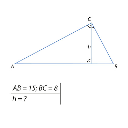 Vector illustration of a geometrical problem for finding the altitude drawn to the hypotenuse