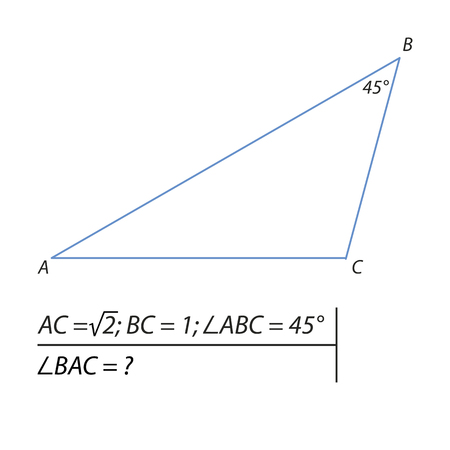 The problem of calculating the angle A of a triangle Illustration