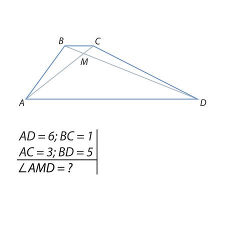 Una ilustración vectorial del problema de encontrar los ángulos del punto de intersección de la ilustración de diagonales. Ilustración de vector