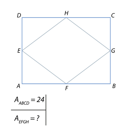 The problem of calculating the angle of the diamond in the rectangle