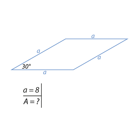 A Vector illustration of the problem of finding the area of a rhombus-01 illustration.