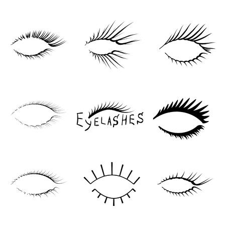 Vector realistic eyelash textures.