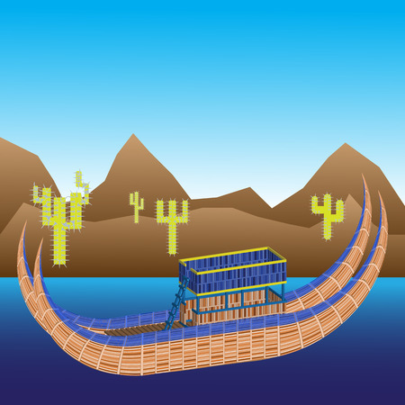 A model of a boat made of reeds in the Titicaca lake in Bolivia and Peru