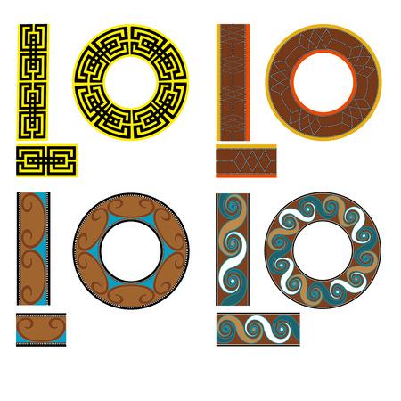 tread: Set of seamless geometric square patterns for fabric. Egypt style illustration. Illustration