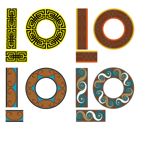 Set of seamless geometric square patterns for fabric. Egypt style illustration. Illustration