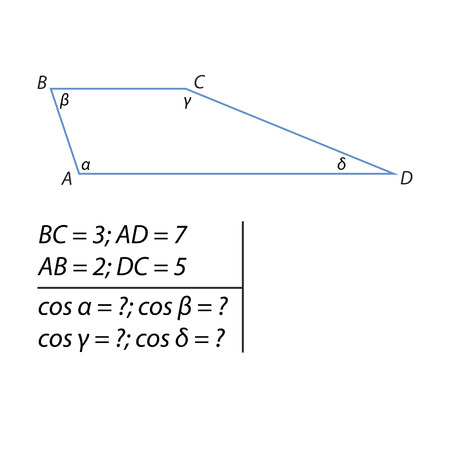 The problem of calculating the interior angles of a trapezoid Stock Photo - 82148096
