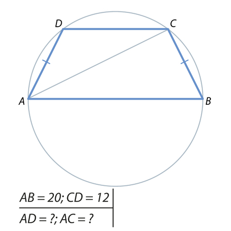 perimeter: The task of calculating the lateral side and the diagonal of the trapezoid Stock Photo