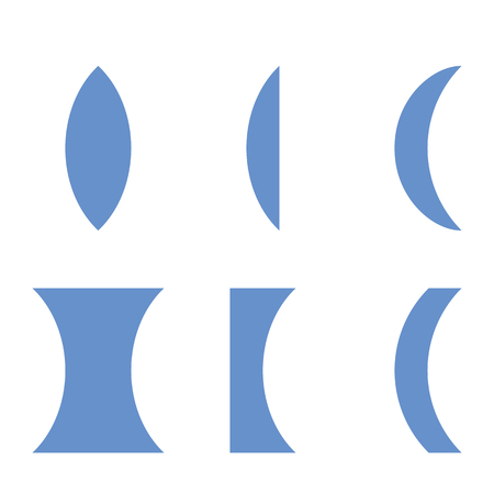Illustration of types of lensescollecting lens Spread lenses 1 biconvex, 2 Plano,3 is convex-concave,4 biconcave,5 plano,6 concave-convex.
