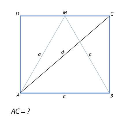Task for calculating the diagonal of a rectangle Stock Photo