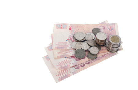 indices: Thailand coins and banknotes Through the use of state Put together on a white background. Stock Photo
