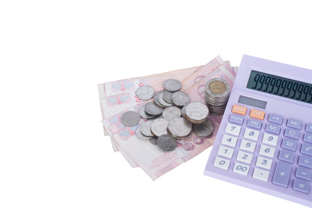 indices: Baht coins Thailand notes and calculations with numbers 9 screen placed together on a white background.