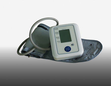 blood pressure monitor: Medical equipment on a white background. Type digital blood pressure monitor.