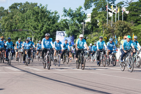 energize: Udon Thani, Thailand, August 16, 2015: bikes for a cycling event at the mother biking together in the streets. Energize the Queen Mother.