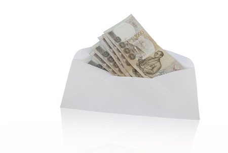 Thailand banknote bribe, white background. Stock Photo