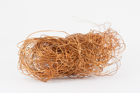 electrical materials: Copper wire isolated white background.